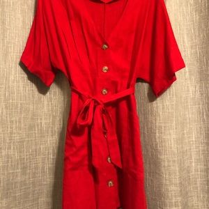 Red dress with tie waist and button front
